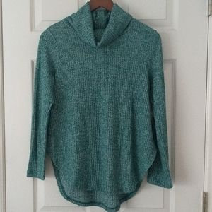 St. John's Bay Cowl Neck Waffle Top Teal S Petite